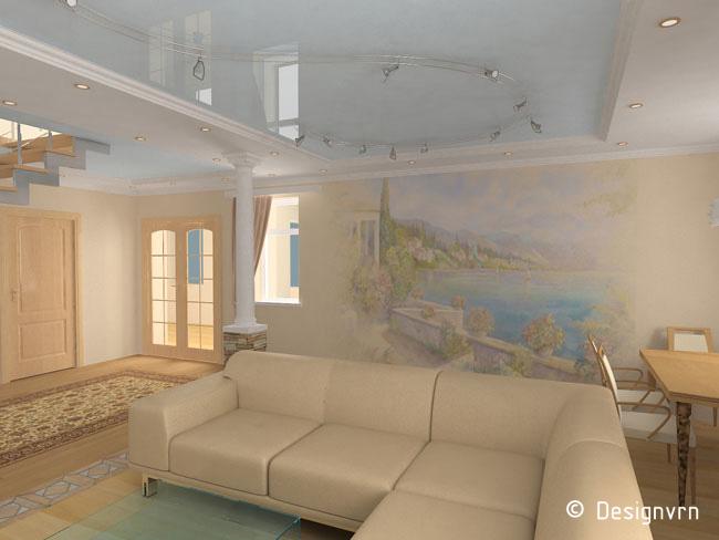 Интерьер гостиной с фреской